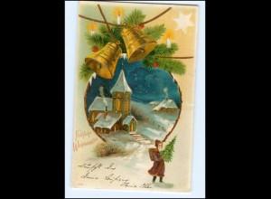 Y13365/ Weihnachtsmann Weihnachten Litho Präge AK 1905