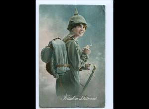 Y13364/ Fräulein Leutnant Frau in Uniform mit Zigarette WK1 1916 AK