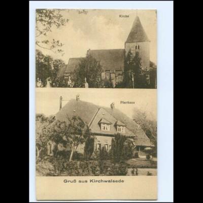 Y13396/ Kirchwalsede Kirche Pfarrhaus AK 1926
