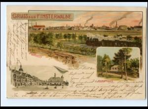 XX005612-032/ Gruß aus Finsterwalde mit Eisenbahn Erw. Spindler Litho AK 1902