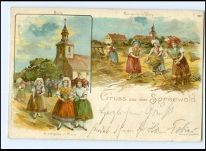 XX005614-030/ Gruß aus dem Spreewald Kornernte in Burg Litho AK 1899
