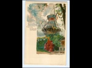 XX005630/ Potsdam Windmühle Litho AK Kley Karlsruhe ca.1900