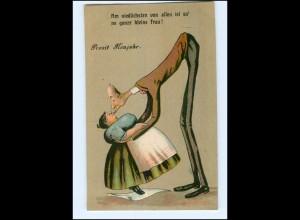 Y13457/ Neujahr Großer Mann und dicke Frau, Humor Litho AK ca.1912 Riese