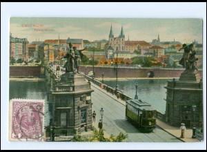 U8254/ Smichow Prag Palacky-Brücke Straßenbahn AK 1918