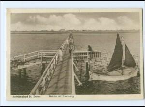 Y13479/ Nordseebad St. Peter Brücke mit Bootssteg AK 1930