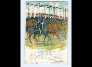 Y13489/ Husaren zu Pferde Litho AK 1909