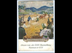 U8281/ DLG-Ausstellung Hannover 1931 Heuernte Landwirtschaft Getreidemäher AK