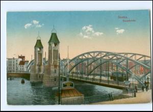 XX006092/ Pommern Stettin Baumbrücke Straßenbahn 1919 AK