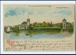 XX005893/ GRuß aus Hamburg Meteor Halt gegen Licht Ltho AK Uhlenhorst 1898