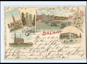 XX006090/ Schlesien Gruß aus Breslau 1899 Litho AK