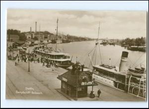 XX006085/ Pommern Stettin Dampfschiff-Bollwerk Foto AK