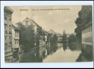 Y13915/ Alt-Erfurt Blick v. Lehmannsbrücke auf Weidenbrücke 1912 AK