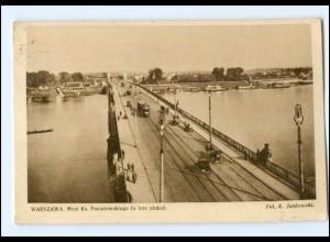 Y13633/ Warszawa Warschau Straßenbahn AK Brücke 1931 Polen