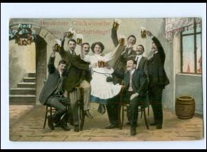 Y13584/ Geburtstag Männer und Frau trinken Bier AK 1913