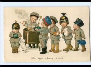 U8323/ Kinder Uniform mit Pickelhaube tolle Litho AK 1. Weltkrieg 1916