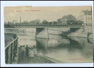 Y13761/ Belgien Liége Pont d´Amercoeur 1909 AK