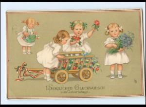 U8331/ sign: LD Geburtstag Mädchen Meissner & Buch Litho AK 1914