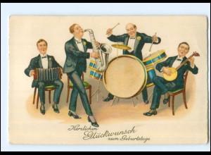 Y13588/ Geburtstag Männer musizieren, Saxophon, Banjo, Litho AK 1928