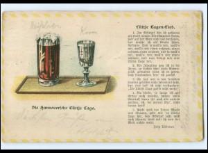 Y13691/ Die Hannoversche Lüttje Lage Lieder Litho AK Bier Hannover 1911