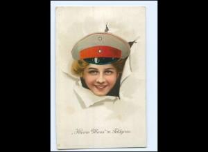 """Y13558/ """"Kleine Maus"""" in Feldgrau Frau in Uniform schöne Litho AK 1. Weltkrieg"""