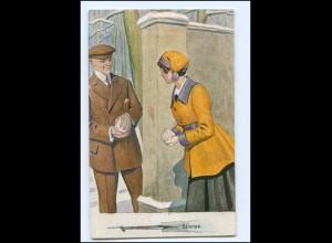 Y13617/ Schnee - junges Paar Künstler AK ca.1912