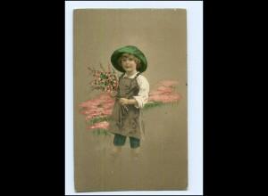 Y13693/ Kind mit Blumen Ltho Ak 1913