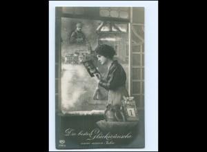 Y13612/ Neujahr Frau zu Hause, Mann im Felde 1. Weltkrieg Foto AK 1915