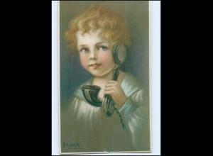 Y13702/ Kind mit Telefon sign: Frank AK ca.1912
