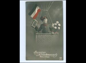 Y13609/ Geburtstag Junge in Uniform im Ballon 1. Weltkrieg Patriotik Foto AK