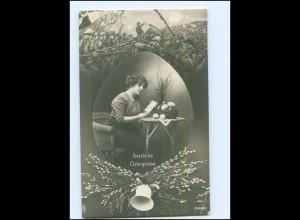 Y13611/ Ostern Frau zu Hause, Mann im Felde 1. Weltkrieg Foto AK 1916