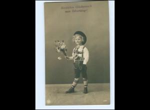 Y13602/ Geburtstag Junge mit Blumen NPG Foto AK 1907