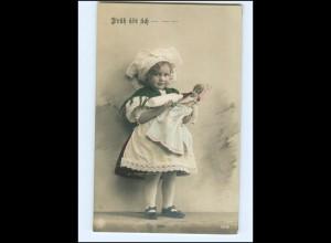 Y13605/ Früh übt sich! Mädchen Puppe NPG Foto AK 1912
