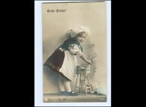 Y13604/ Große Wäsche! Mädchen Puppe NPG Foto AK 1912