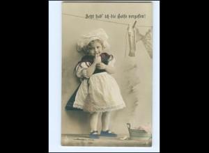 Y13606/ Mädchen Wäsche waschen NPG Foto AK 1912