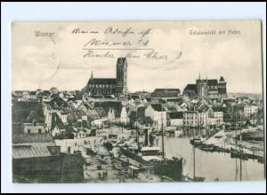 U8528-239./ Wismar Totalansicht Hafen 1910 AK