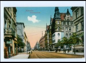 U8558/ Schlesien Kattowitz Grundmannstraße 1917 AK