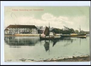 Y13800/ Schloß Sonderburg und Hafeneinfahrt Nordschleswig AK 1908