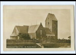 U8482/ Föhr Wyk St. Nicolai-Kirche 1927 Foto AK