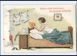 Y13816/ Humor AK Frau im Bett , Nachttopf 1918