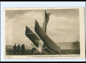 U8854/ Berlin Flugplatz Johannisthal Flugzeug L.V.G. Doppeldecker AK 1915