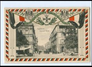 U8370-6630/ Saarlouis Deutsche Straße Patriotik 1. Weltkrieg AK 1916