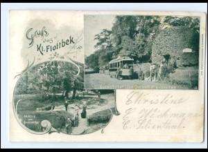 U8364/ Hamburg Gruß aus Kl. Flottbek Straßenbahn AK 1902