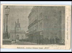 Y14096/ Bialystok Hotel Ritz Polen AK 1915