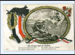 Y14101/ verwundeter Soldat, Die Sonne sank im Westen, Patriotik 1. Weltkrieg AK
