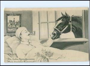 Y14100/ verwundeter Soldat und Pferd 1. Weltkrieg AK 1915
