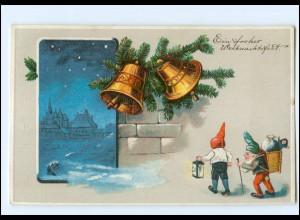 Y14098/ Weihnachten Glocken Zwerge Litho Präge AK ca.1910
