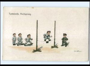 Y14313/ Ad. Hoffmann AK Kinder in Uniform Turnen Hochsprung 1918