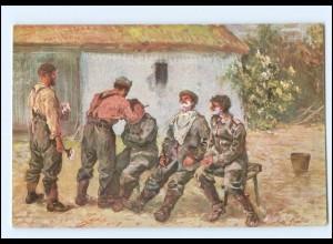 Y13823/ Der Feldbarbier 1. Weltkrieg AK Verlag: M. Schlesinger 1916