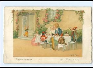 U8858/ Pauli Ebner Hochzeitsmahl Kinder Puppen Litho Ak ca.1930