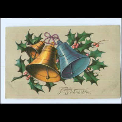 Y14040/ Weihnachten Glocken Mistelzweig Litho Präge AK 1909